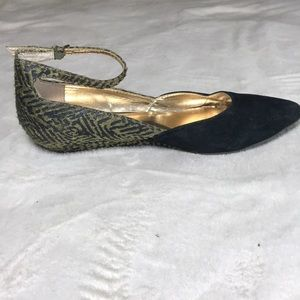 Seychelles Shoes - Seychelles gold and black flats with ankle strap.